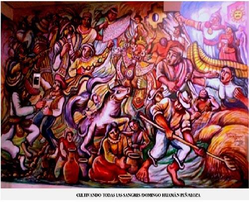 """Obra """"Cultivando todas las sangres"""", mural pintado en casa de la poeta indígena Gloria Dávila. Sus dimensiones son: 4.00 x 3,00, en ella plasma la fundación del Imperio incaico, las danzas del Perú andino, al líder indígena más importante Túpac Amaru II o José Gabriel Condorcanqui"""