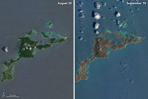 En el caso de la isla de Virgin Gorda se aprecia una mejor idea de los cambios dice el reporte científico
